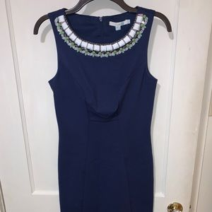 Boden navy dress with bead and ribbon trim Size 4